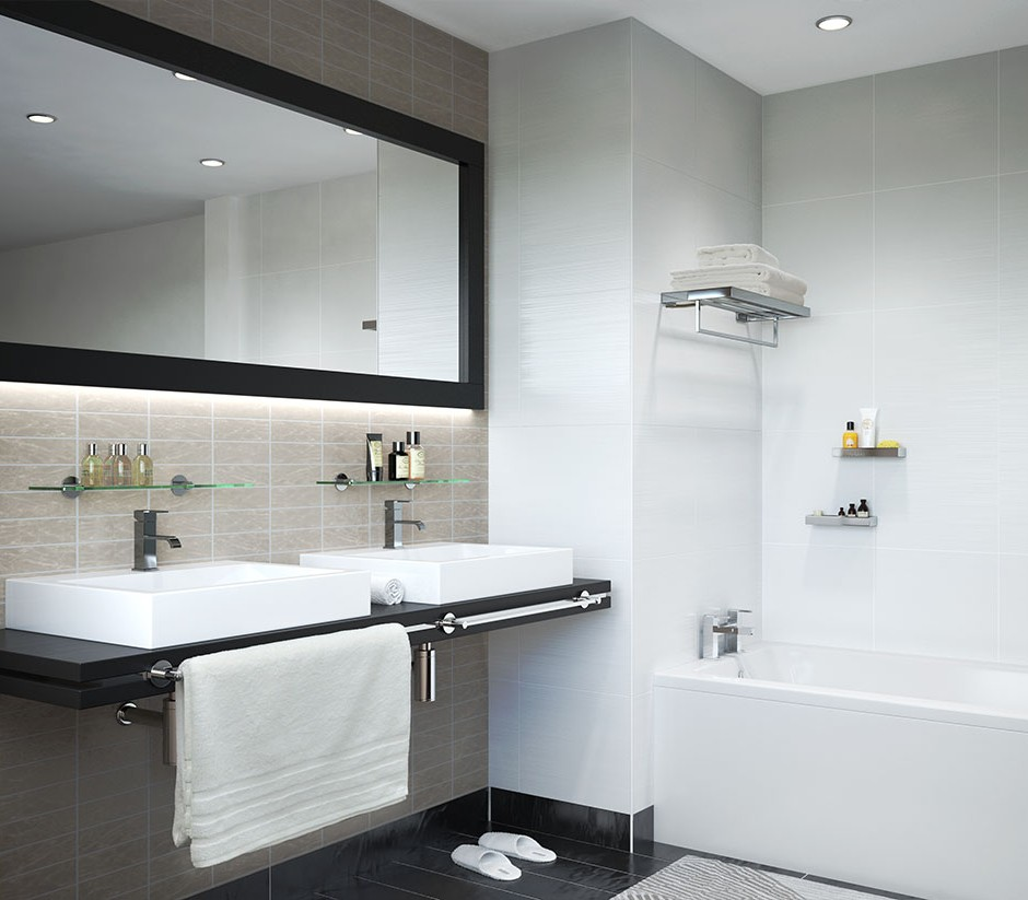 A Hero Three Quarter 3d Visualisation Of Modern Styled Bathroom With Wall Mounted His And Her