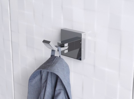 Cameo three quarter angle 3D Interior Product Visualisation of a highly lit hook with blue hanging coat