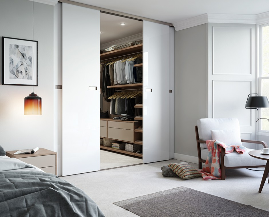 Hero three quarter angle 3D Interior Visualisation of a daytime natural lit Bedroom Focusing on open sliding doors leading to walk in wardrobe