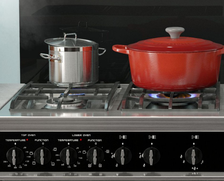 Cameo front on angle 3D Interior Visualisation focusing on the top of the cooker lit with two cooker pots