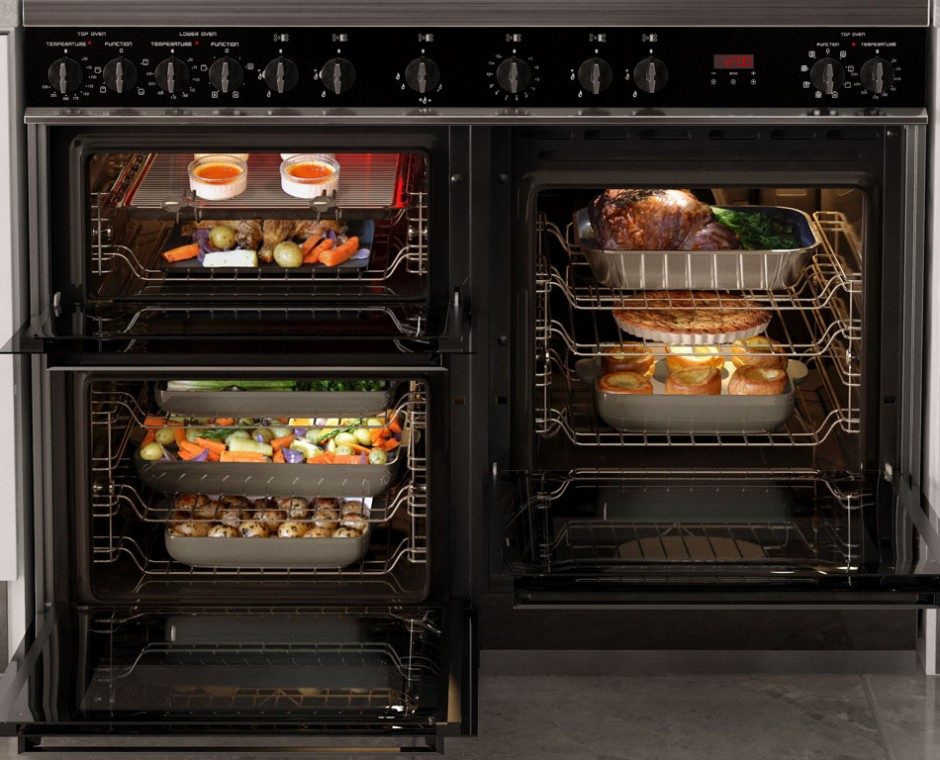 Cameo front on angle 3D Interior Visualisation focusing inside the cooker with shelves of cooked food