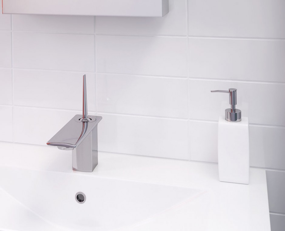 Cameo three quarter angle 3D Interior Visualisation white tiled bathroom focusing on the kohler chrome tap with hand wash accessory