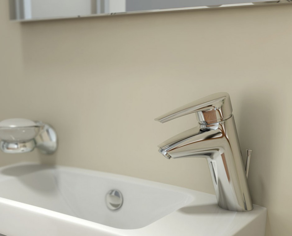 Cameo three quarter angle 3D Interior Visualisation cream wall bathroom focusing on the kohler corner chrome tap with soap wall holder accessory