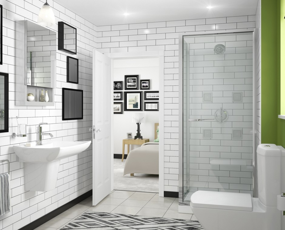 Hero three quarter angle 3D Interior Visualisation white tiled en-suite bathroom with a corner walk in shower high back toilet and wall mounted sink opposite