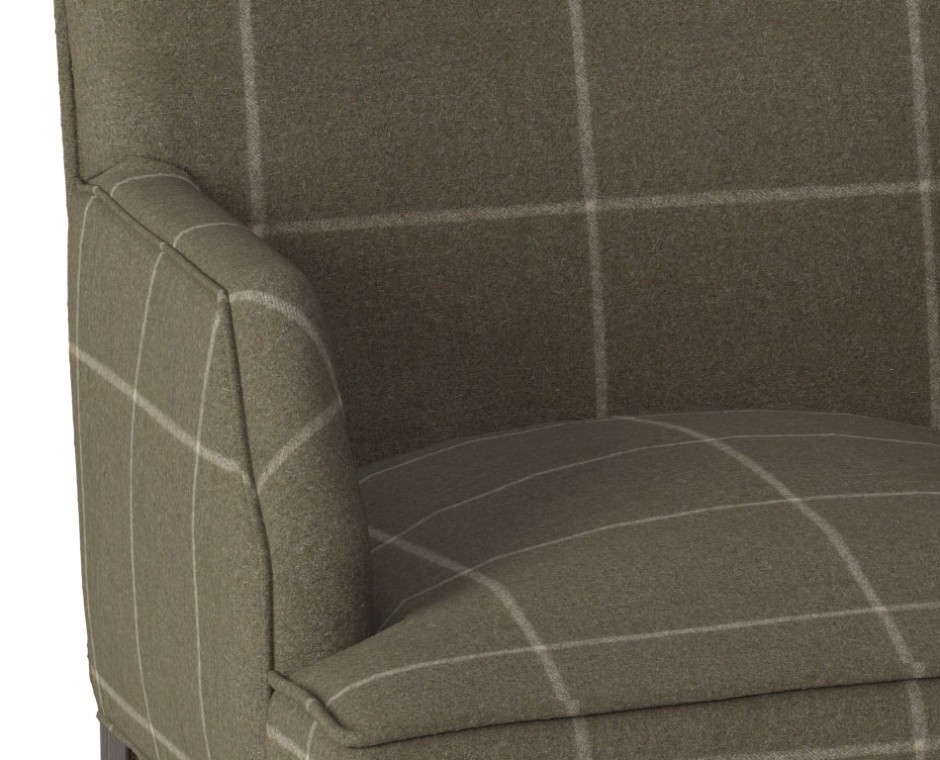 Cameo detail three quarter angle Neptune Product Visualisation focusing on single upholstered checkered seat
