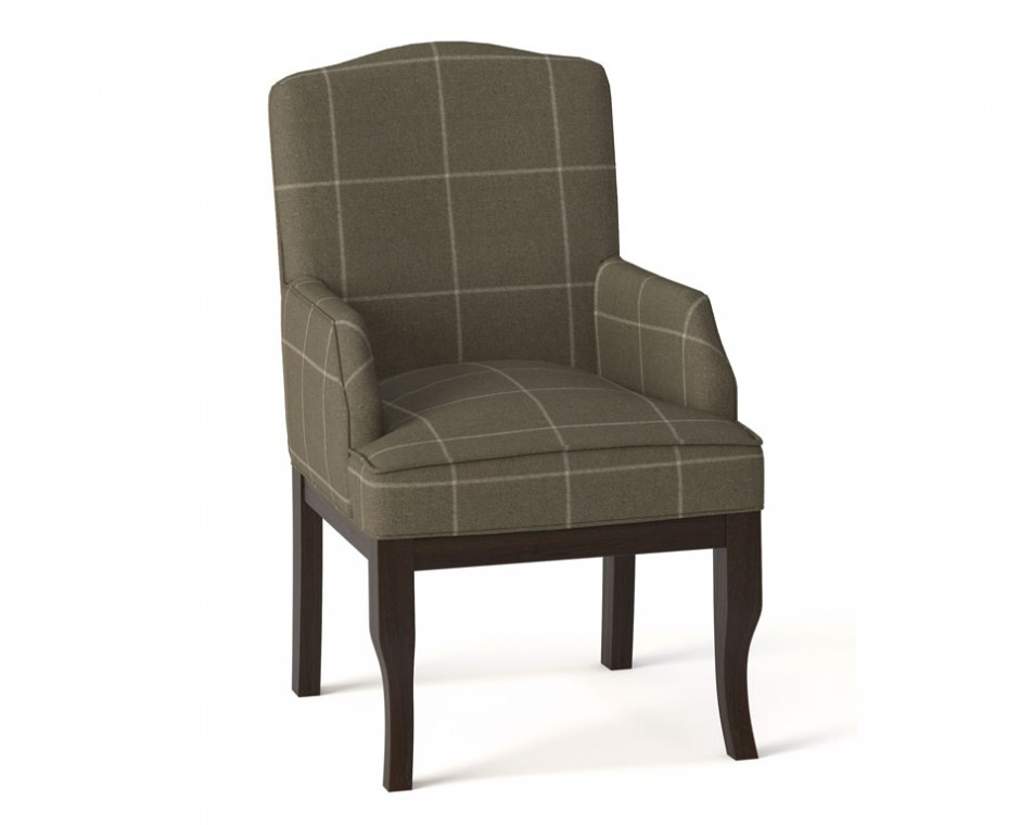 Cameo three quarter angle Neptune Product Visualisation focusing on single upholstered checkered seat