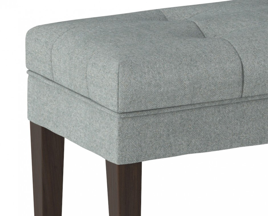 Cameo detailed three quarter angle Neptune Product Visualisation focusing on single grey upholstered foot stool