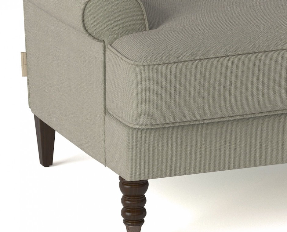 Cameo detailed three quarter angle Neptune Product Visualisation focusing on single lower corner upholstered chair