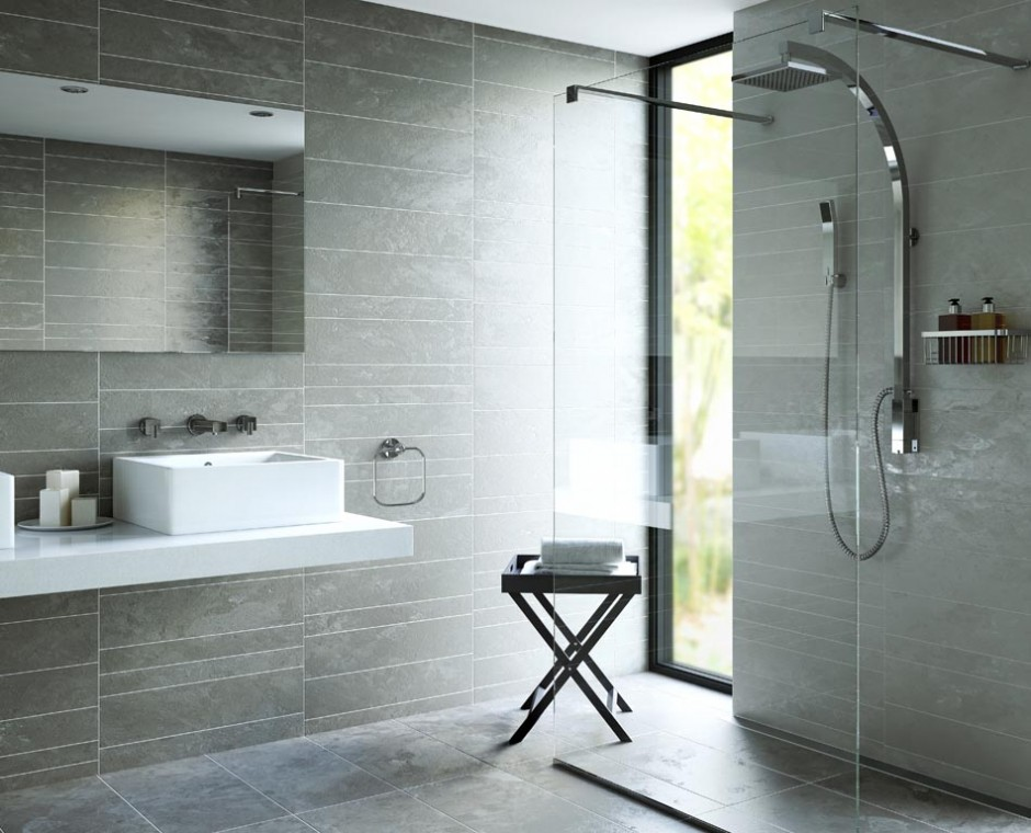 Hero three quarter angle 3D Product Visualisation of a daytime natural lit wetroom focusing on Walk in shower and square Sink