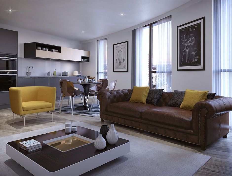 A three quarter low angled 3d visualisation of a modern style studio accomodation naturally lit with brown leather sofa and modern grey style kitchen