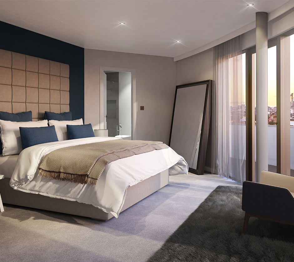 A three quarter 3d visualisation of a modern style bedroom naturally lit morning lighting with en suite bathroom