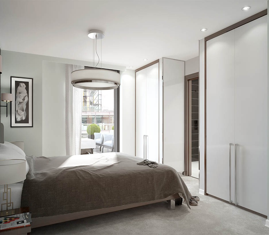 A three quarter mid height 3d visualisation of a modern neutral style bedroom naturally lit with sliding wall mounted wardrobes and en suite bathroom