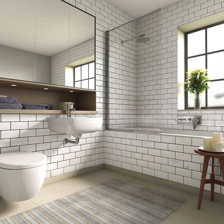 A three quarter front on 3d visualisation of a modern style bathroom naturaly lit with modern white tiling wall mounted toilet