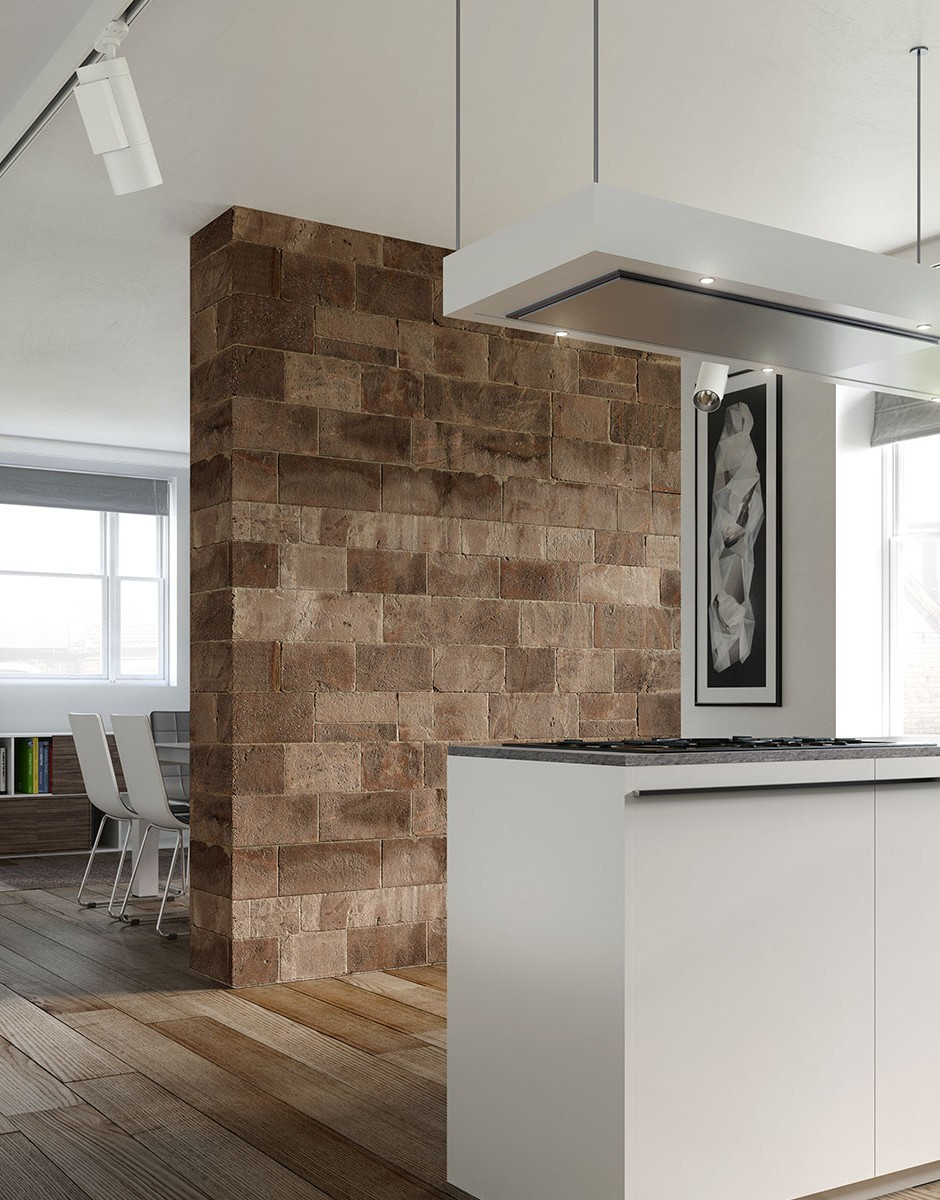 A low level three quarter 3d visualisation of a modern style studio apartment naturaly lit with modern detailing a large brick feature wall with a kitchen island