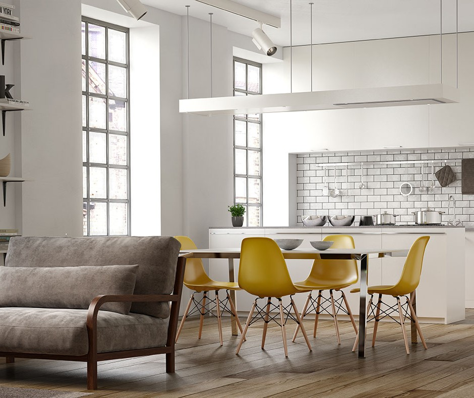 A three quarter front on 3d visualisation of a modern style interior naturally lit with modern yellow seater table and chairs suede sofa and a modern styled backdrop kitchen