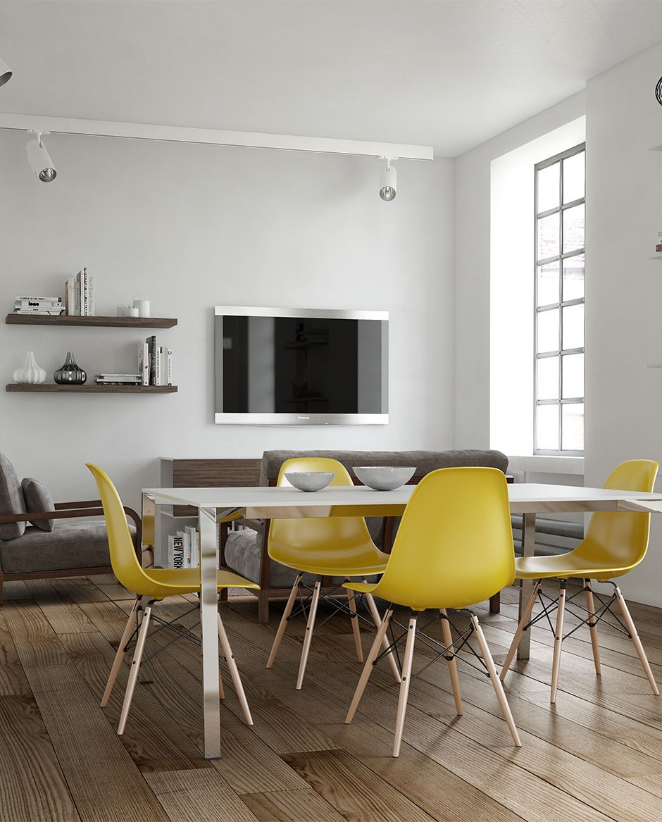 A three quarter front on 3d visualisation of a modern style interior naturally lit with modern yellow seater table and chairs suede sofa and wall mounted TV