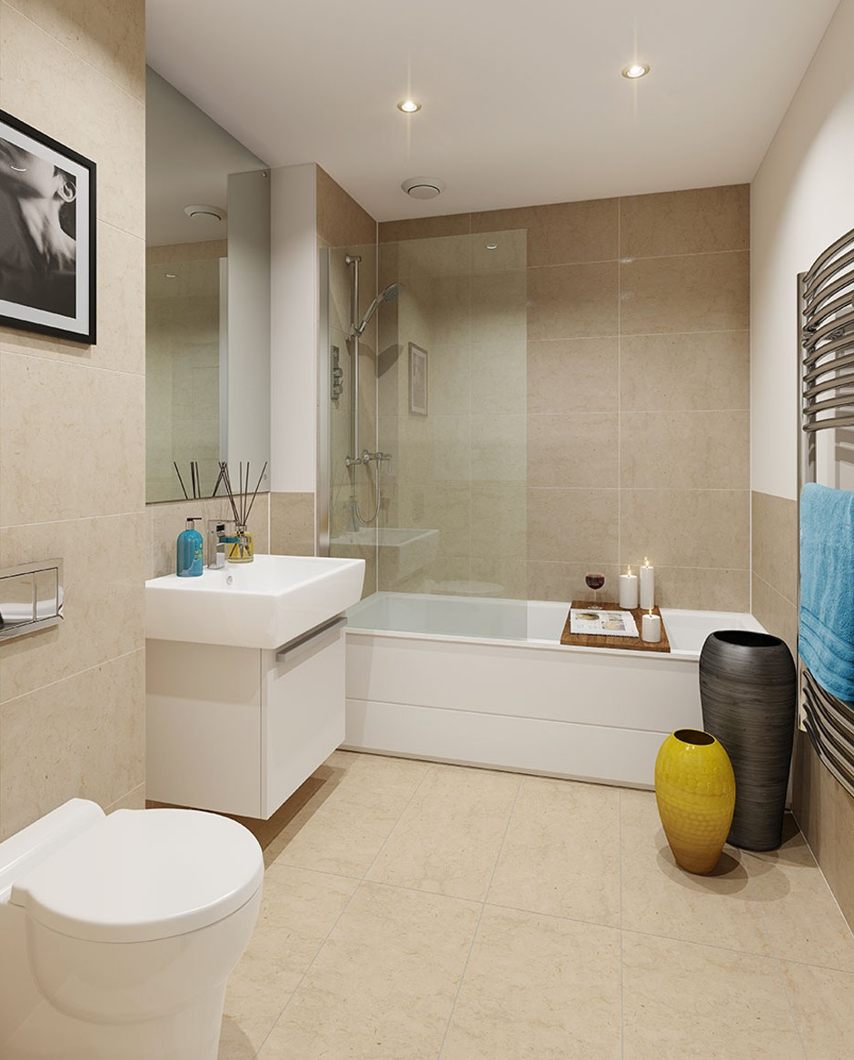 A front on 3d visualisation of a modern style ceramic tiled bathroom with white modern bathroom toilet bath and sink with wall mounted stainless steel towel radiator and matching yellow and blue kitchen accessories