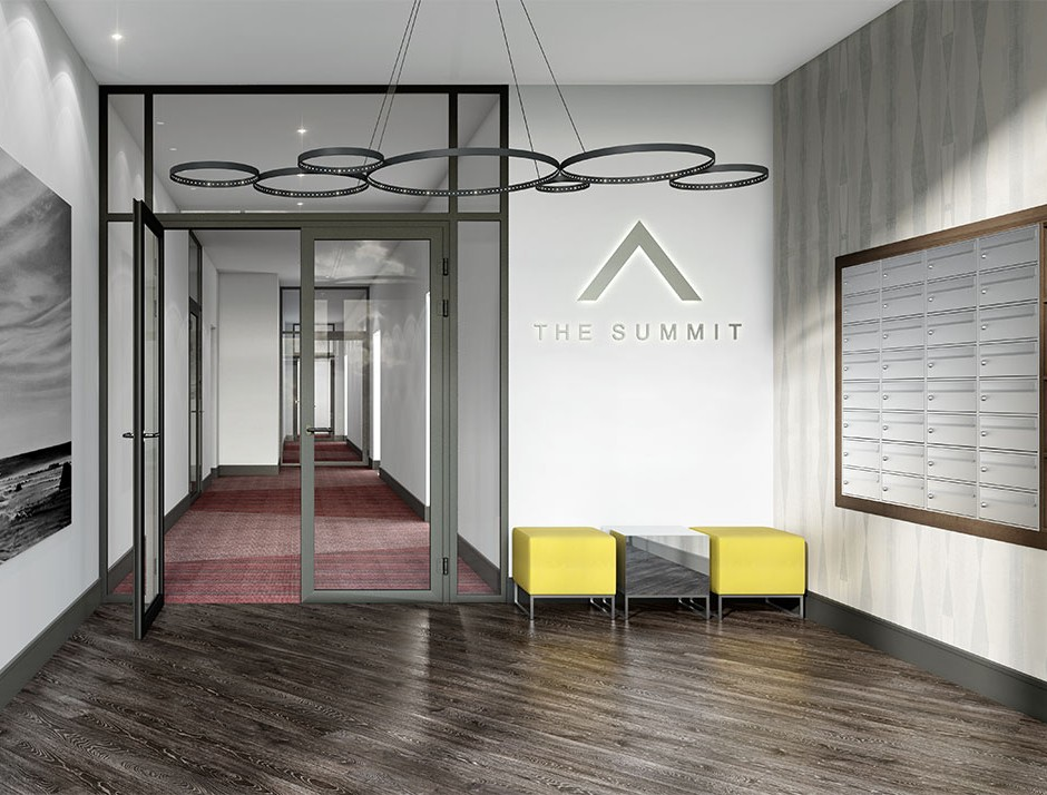 A front on 3d visualisation of a contemporary apartment building entrance with modern features and a red carpet hallway