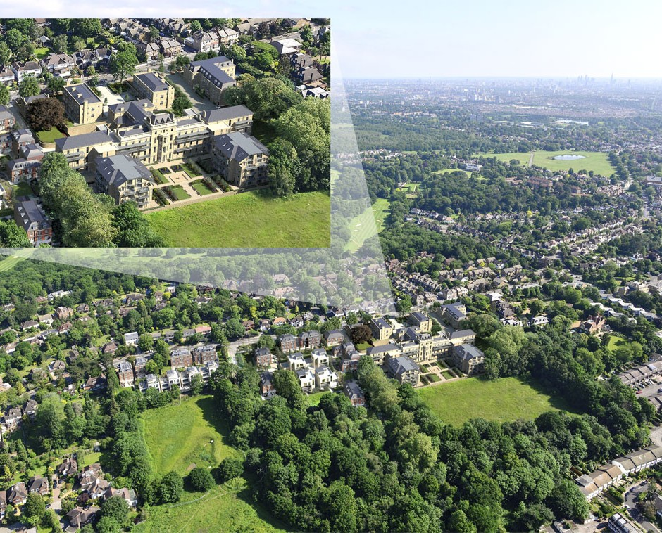Large ariel 3D Architectural Visualisation of refubished Victorian hospital with new build apartments with large open central garden shown in view of environment