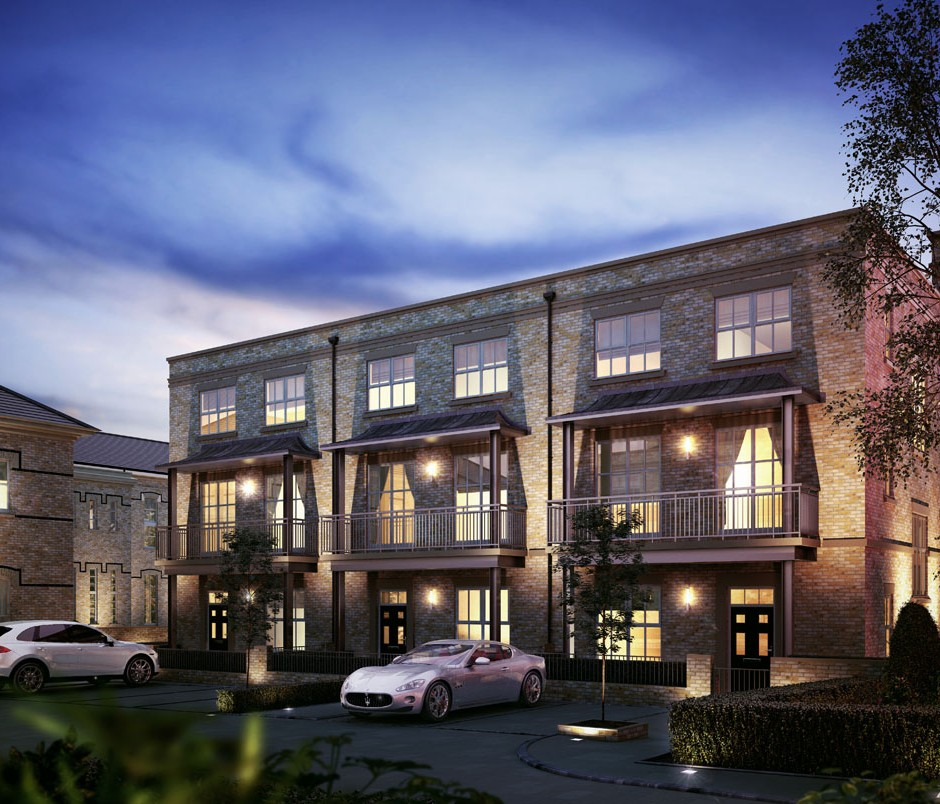 Three quarter angle dusk 3D Architectural Visualisation of new build apartments with lighting inside and out