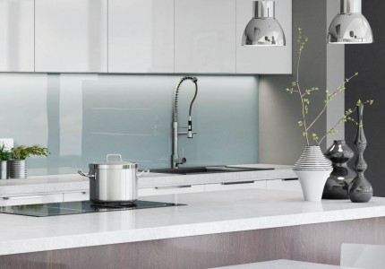 A cameo three quarter angle 3d visualisation of a modern kitchen naturally lit with island centered and minimal accessories