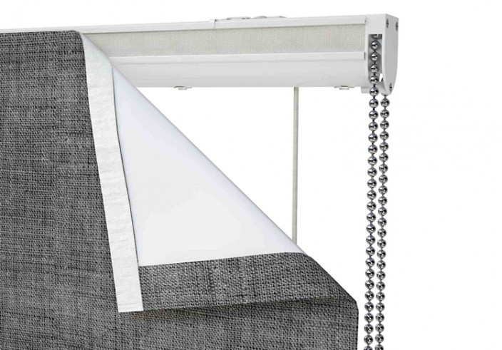 Computer generated image of a grey roller blind