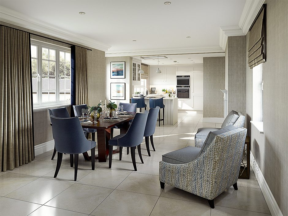 interior cgi of kitchen and dining room combination