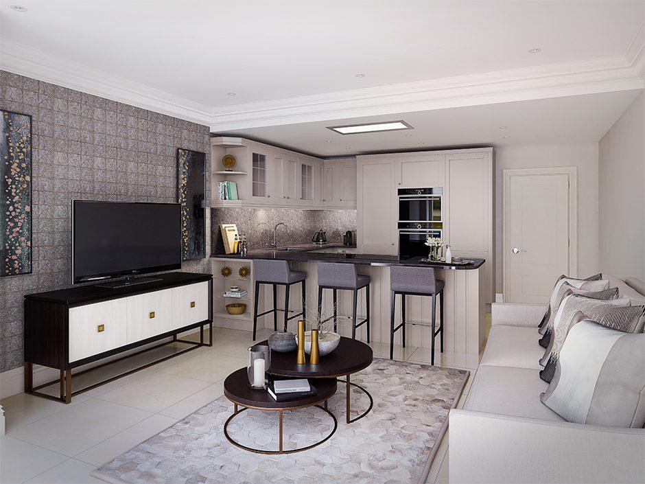 cgi render of studio apartment