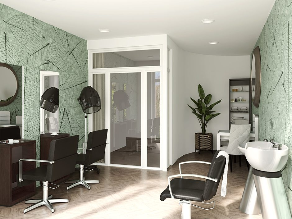 cgi image of the inside of a hairdressers