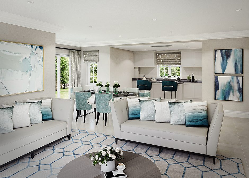 cgi image of a luxury studio apartment