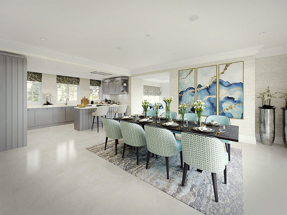 interior cgi render of dining area