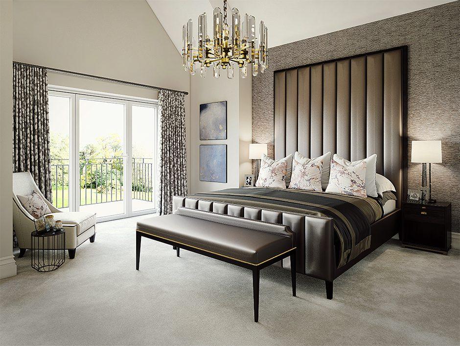 cgi render of luxury bedroom