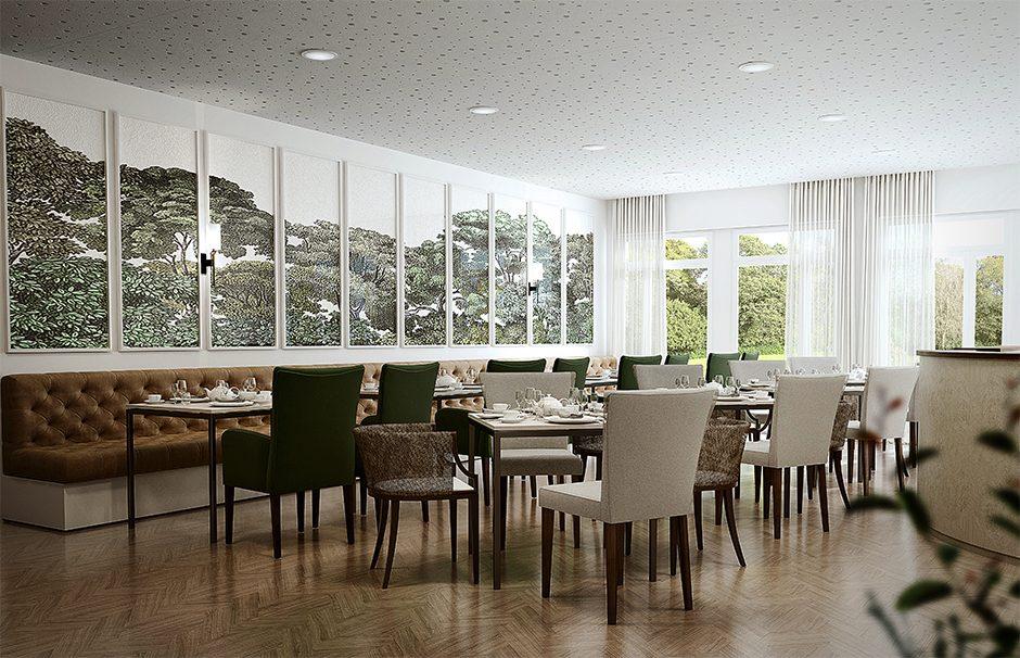 computer generate image of a tea room